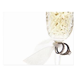 Champagne Glass Wedding Rings Postcard