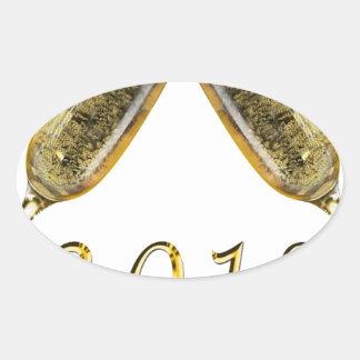 Champagne Glasses 2018 Oval Sticker