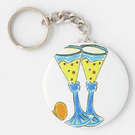 Champagne Glasses Basic Round Button Keychain