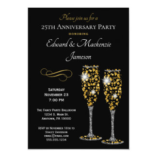 Champagne Glasses Black Anniversary Invitation