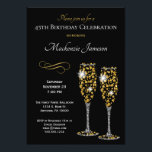 """Champagne Glasses Black Gold Birthday Invitation<br><div class=""""desc"""">An elegant birthday party invitation featuring 2 champagne glasses and elegant white & gold text. Perfect for milestone birthdays such as 21st,  25th,  30th,  35th,  40th,  45th,  50th,  55th,  60th,  70th,  80th ... or any year!</div>"""