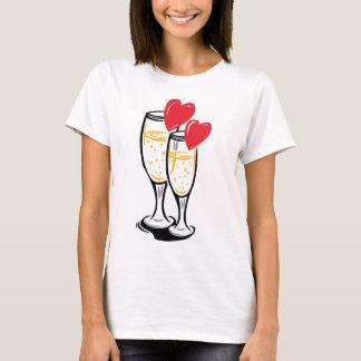 Champagne glasses celbrating love T-Shirt