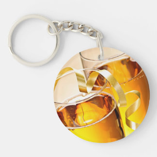 Champagne glasses Double-Sided round acrylic keychain