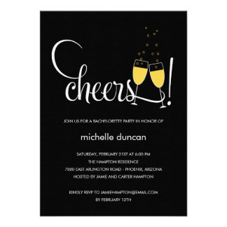 Champagne Glasses Engagement or Bachelorette Party Invitations