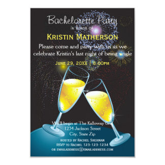 Champagne Glasses Fireworks-3x5 Bachelorette Party Card