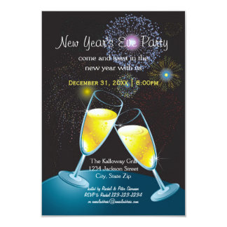 Champagne Glasses Fireworks - 3x5 New Year's Party Card