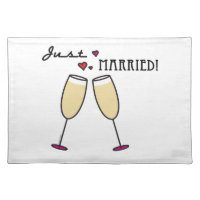 Champagne Glasses Hearts Just Married Cloth Placemat
