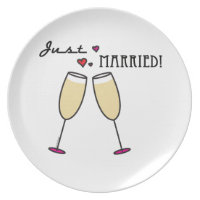 Champagne Glasses Hearts Just Married Plate