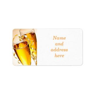 Champagne glasses label