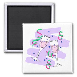 Champagne Glasses 2 Inch Square Magnet