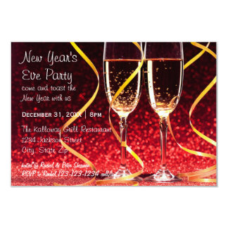 Champagne Glasses Photo - 3x5 New Year's Eve Party Card