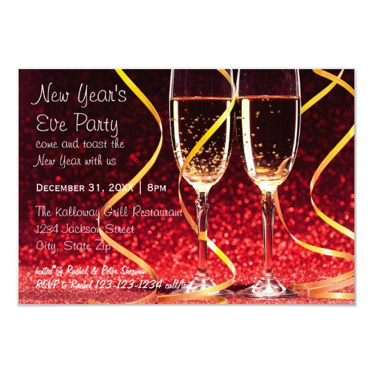 champagne glasses photo 3x5 new years eve party invitation