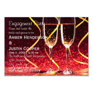 Champagne Glasses Photo - Engagement Party Card