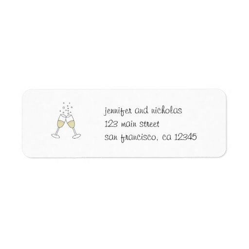 champagne glasses return address sticker custom return address labels