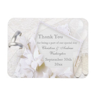 Champagne Glasses & Rings Thank You Wedding Favor Magnet