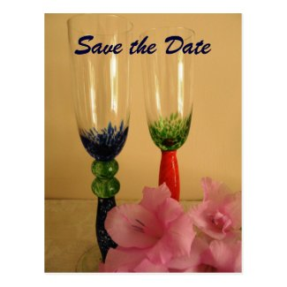 Champagne Glasses Save the Date Postcard