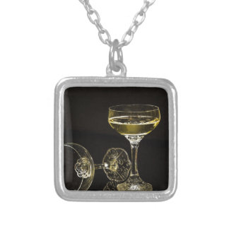 champagne glasses silver plated necklace