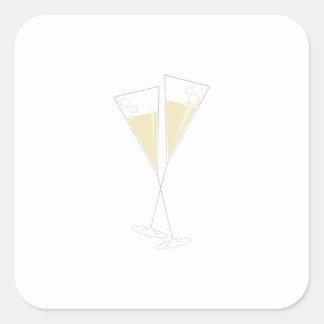 Champagne Glasses Square Sticker
