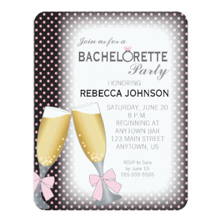 Champagne Glasses with Bows Bachelorette Party 4.25x5.5 Paper Invitation Card