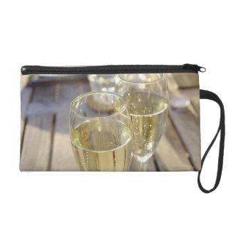 Champagne glasses wristlet purse