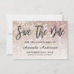 """Champagne Glitter Brush Script  Quinceanera Save The Date<br><div class=""""desc"""">Quinceanera Birthday Party Save The Date. Design featuring sparkly champagne glitter texture background and modern brush script ''save the date''.</div>"""
