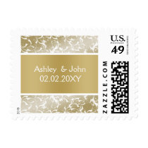 champagne gold Baroque Wedding Postage