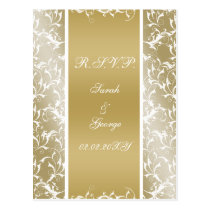 champagne gold Baroque Wedding Postcard