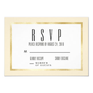 Champagne + Gold Classic Wedding Invite RSVP Card