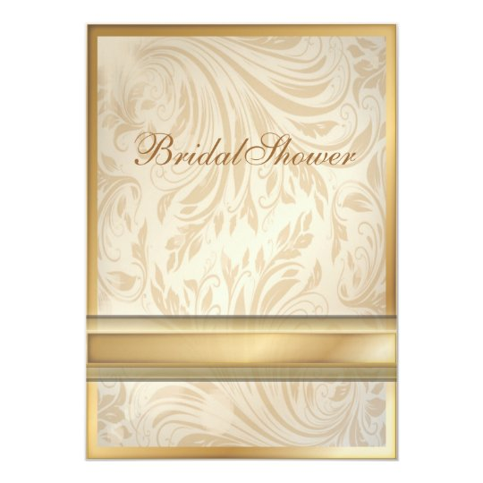 champagne gold Damask Bridal Shower Invitation