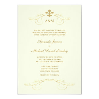 Champagne Gold Fleur De Lis Wedding I Invitations