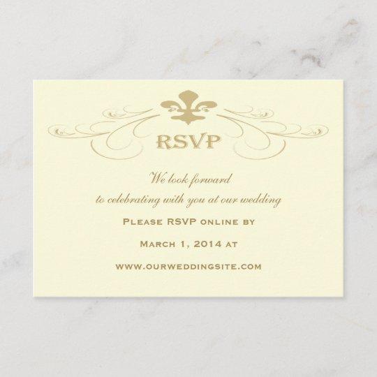 Champagne Gold Fleur De Lis Wedding RSVP Cards