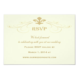 Champagne Gold Fleur de Lis Wedding RSVP Cards