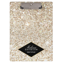 Champagne Gold Glitter and Glamour Personalized Clipboard