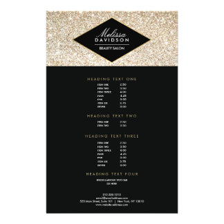 Champagne Gold Glitter and Glamour Salon Flyer