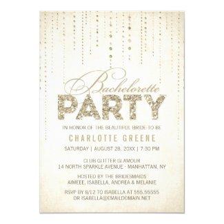 Champagne Gold Glitter Look Bachelorette Party 5x7 Paper Invitation Card