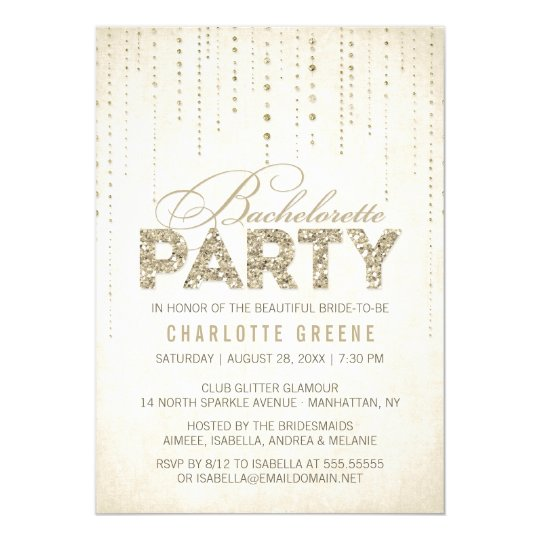 Champagne Gold Glitter Look Bachelorette Party Card