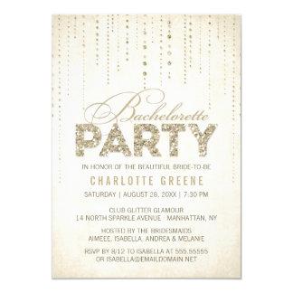 Champagne Gold Glitter Look Bachelorette Party Invitation