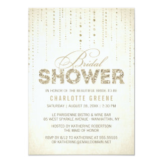 Champagne Gold Glitter Look Bridal Shower Card