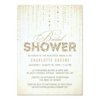 Champagne Gold Glitter Look Bridal Shower 4.5x6.25 Paper Invitation Card