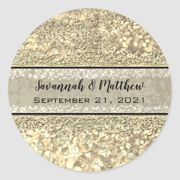 Wedding Themed Champagne Gold Glitter Swirl Romantic Wedding Seal