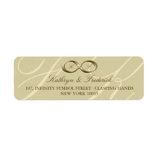 Champagne Gold Infinity Hand Clasp Wedding Labels