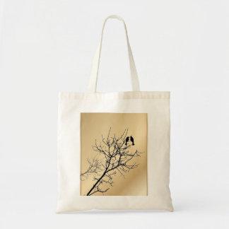 champagne gold LoveBirds Tree Wedding Favor Budget Tote Bag