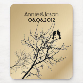 champagne gold LoveBirds Tree Wedding Favor Mouse Pad
