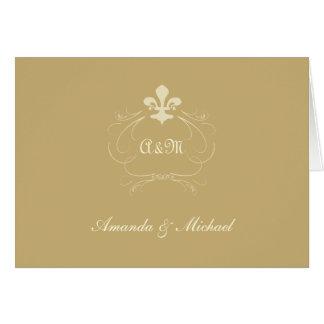 Champagne Gold Wedding Fleur de Lis Thank You Card