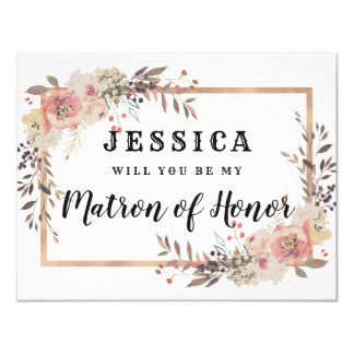 Champagne Gold Will You Be My Matron of Honor Card