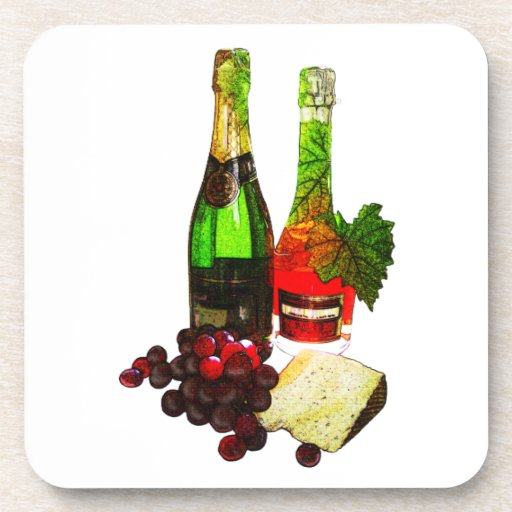 Champagne, grapes and cheese art beverage coaster