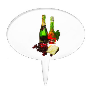 Champagne, grapes and cheese art cake picks