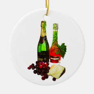 Champagne, grapes and cheese art ceramic ornament