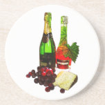 Champagne, grapes and cheese art coasters