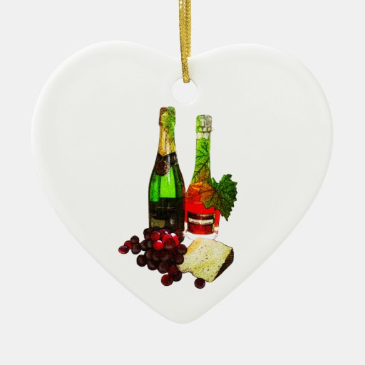 Champagne, grapes and cheese art christmas ornaments